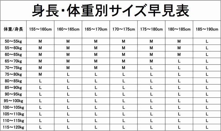 マッスルプレスのサイズ表
